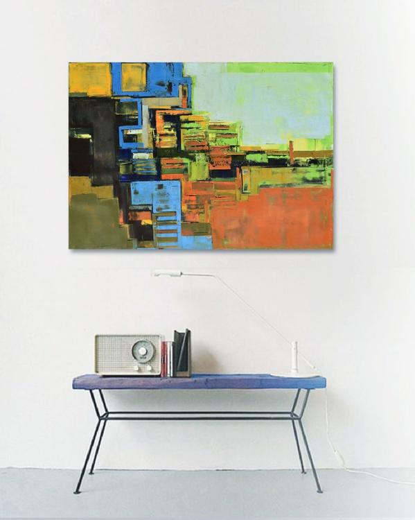 "Canvas art 39.37/27.5(100/70cm). ""Layer city III"" - Image 0"