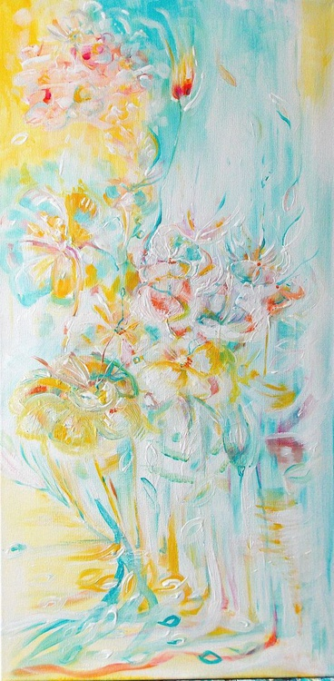 'Spring shades '- Abstract flowers,  pink , light blue - Image 0