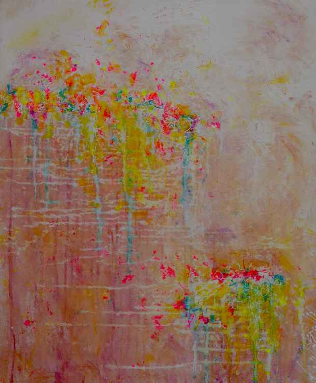 Cliff Overhanging with Wildflowers Large Acrylic Canvas Modern Ready to Hang Impressionistic Floral