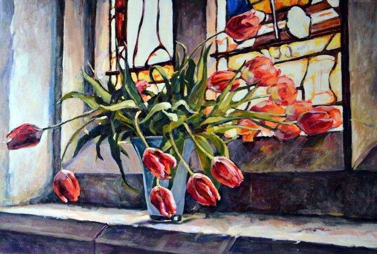 Tulips On The Church Windowsill. - Image 0
