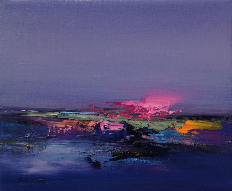 Colour Boom - 25 x 30 cm, abstract landscape oil painting in purple, magenta, pink - Image 0