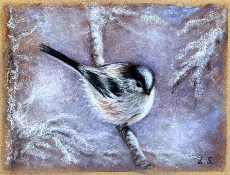 Original pastel drawing Winter Bird