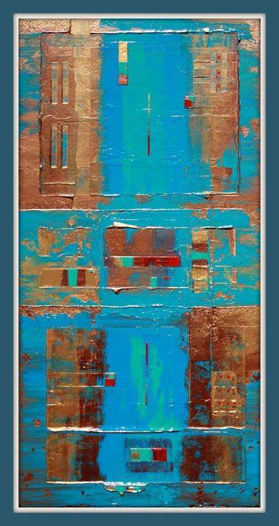 Primitive Blue, Copper, Gold Abstract - Image 0