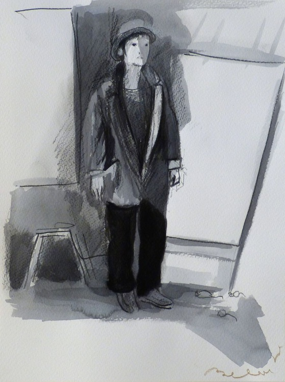 Woman with a hat 3, 24x32 cm - Image 0