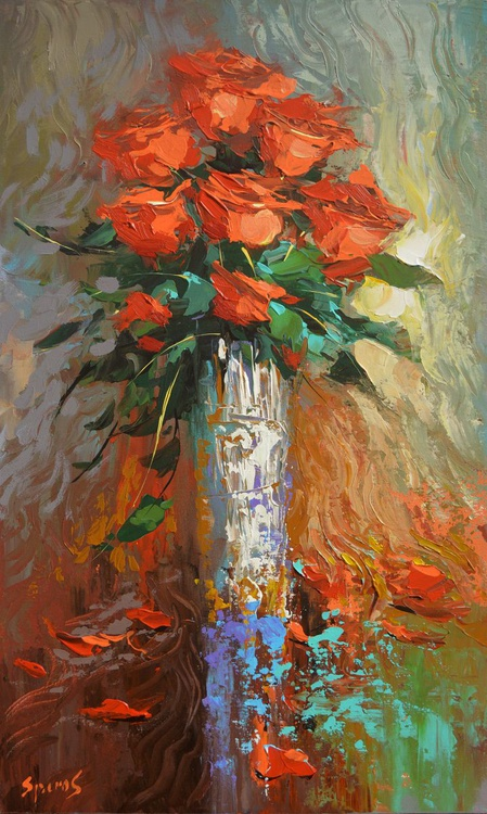 Roses #3 - original painting by Dmitry Spiros. 2016 - Image 0