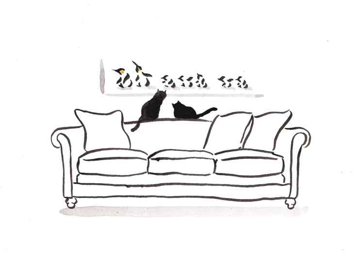 Two cats on a couch 3021PA