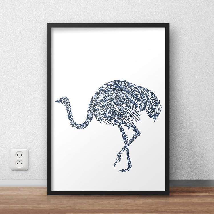 Hand Drawn Navy Blue Emu Framed Digital Artwork Print - Image 0