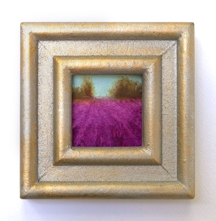 Magenta Fields Mini Framed Contemporary Oil Painting - Image 0