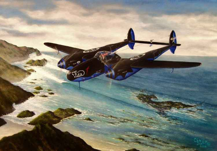"""VIDA P-38 LIGHTNING  - 18 x 24   Acrylic    Cinjin Artworks copyright 2015"