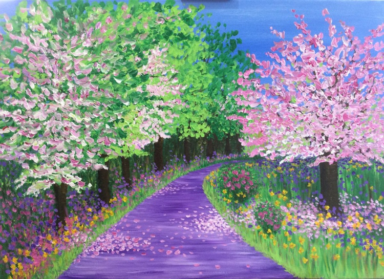 Blossom and Daffodils 39 x 28ins - Image 0