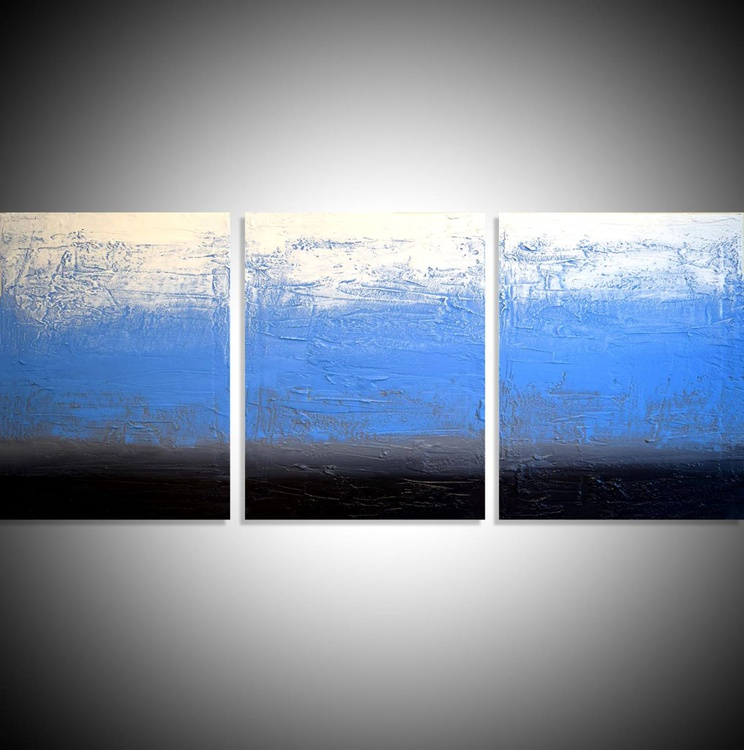 "triptych 3 panel wall art impasto textured ""Ice Blue"" 3 panel canvas wall abstract canvas pop abstraction 48 x 20 "" other sizes available - Image 0"