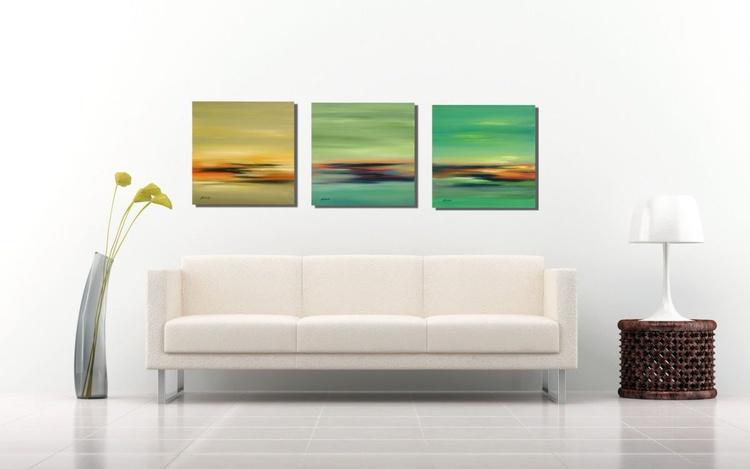 Green Tones - Triptych - 3 x 40 x 40 cm - Image 0