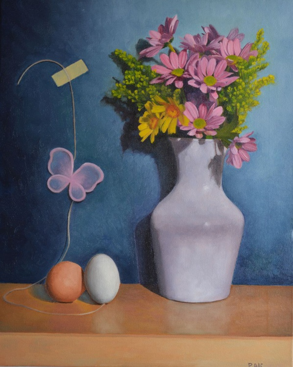 """""""rebirth"""" flowers butterfly and eggs still life by Paola Ali' - Image 0"""