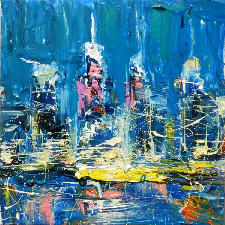 Abstract cityscape, oil painting 30x30 cm - Image 0