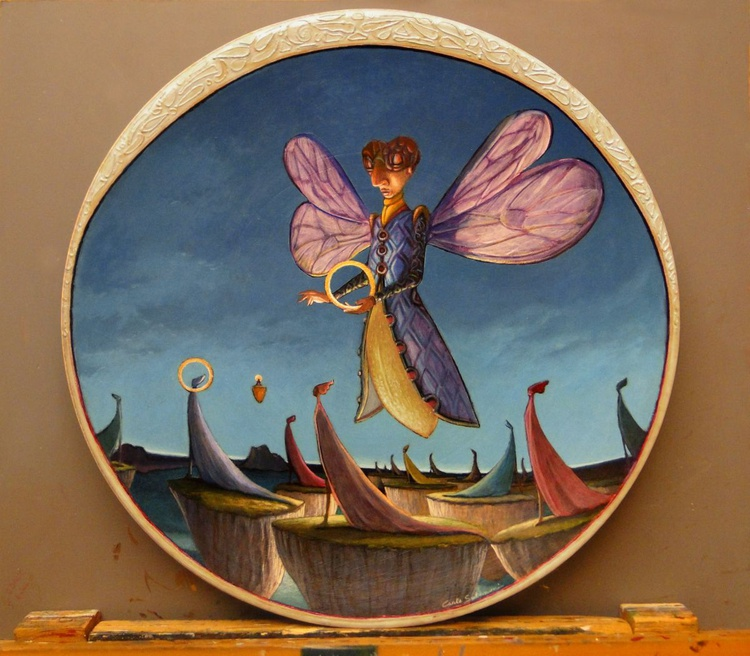 DEPARTURES (Painting on Faenza's Terracotta Dish) - Image 0