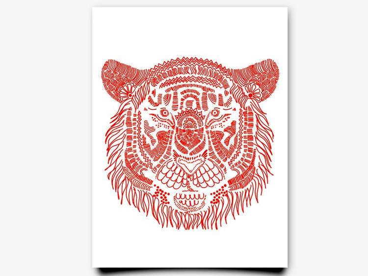 Large Print of Pink Tiger - Image 0