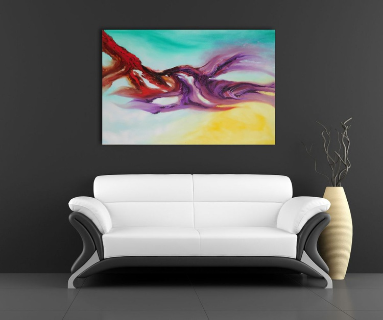 Delight of fly - 90x60 cm, Original abstract painting, oil on canvas - Image 0