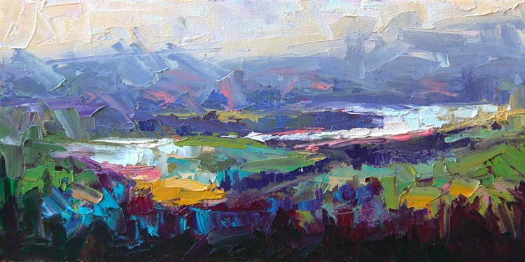 Overlook - plein air palette knife panoramic view of Columbia River - Image 0