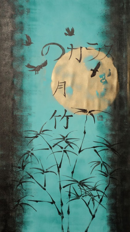 MOON BAMBOO BIRDS Japanese night acrylic painting 90x160 cm unstretched canvas art blue turquoise teal black gold by artist Ksavera - Image 0