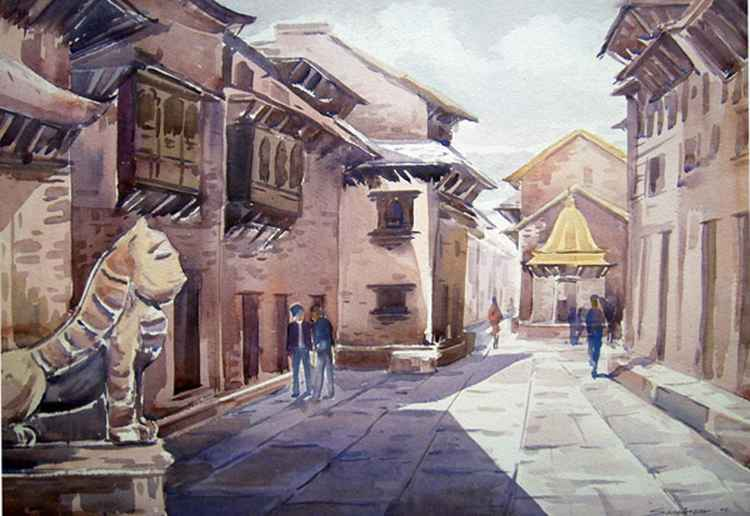 Temple & Narrow Lane in Nepal -