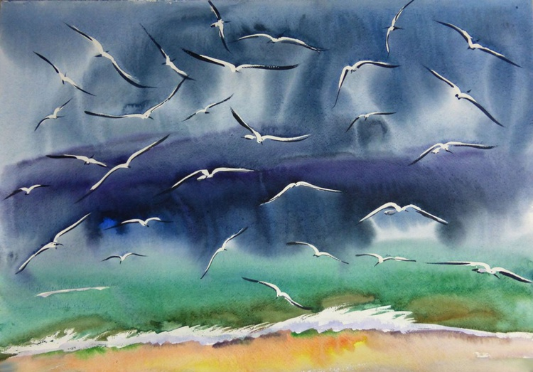 gulls above the waves - Image 0