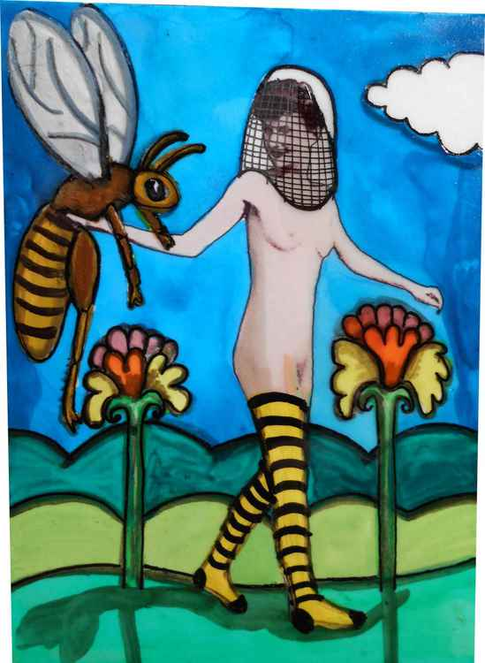Lady Stephen Friend to the Honey Bees Original Painting #2 of Series of 6 -