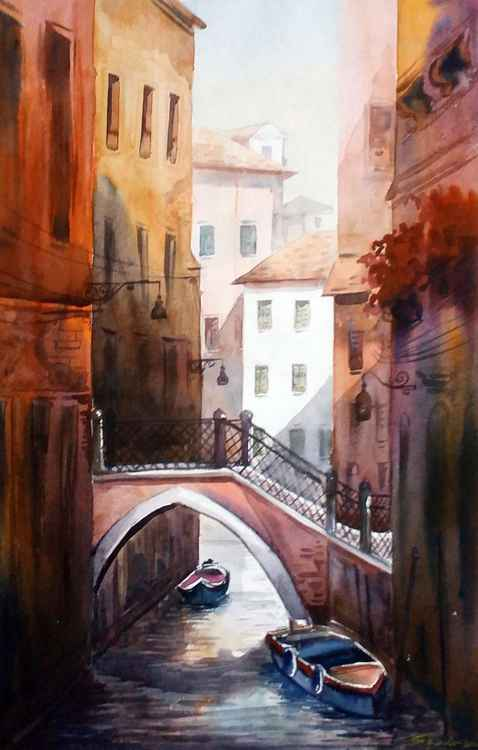 Morning Venice Canals - Watercolor Painting -