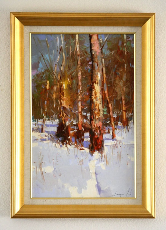 Snow Covered  Path Original oil Painting on Canvas Impressionism One of a kind Framed - Image 0