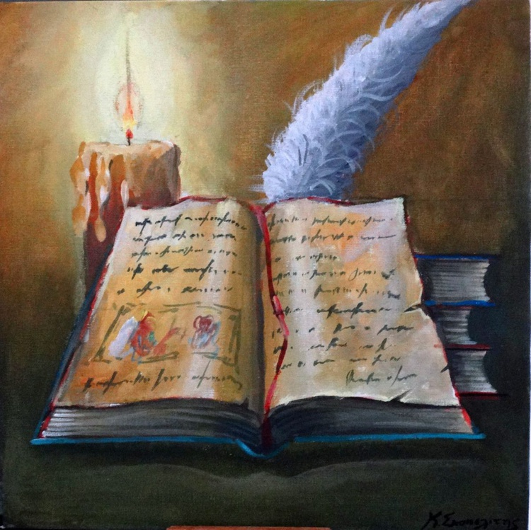 Old books with candle - Image 0