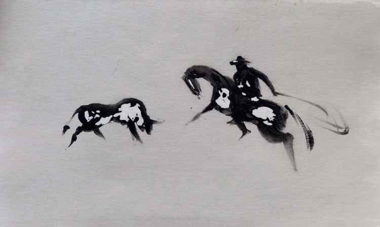 Western 12, wallpaper study 17x29 cm