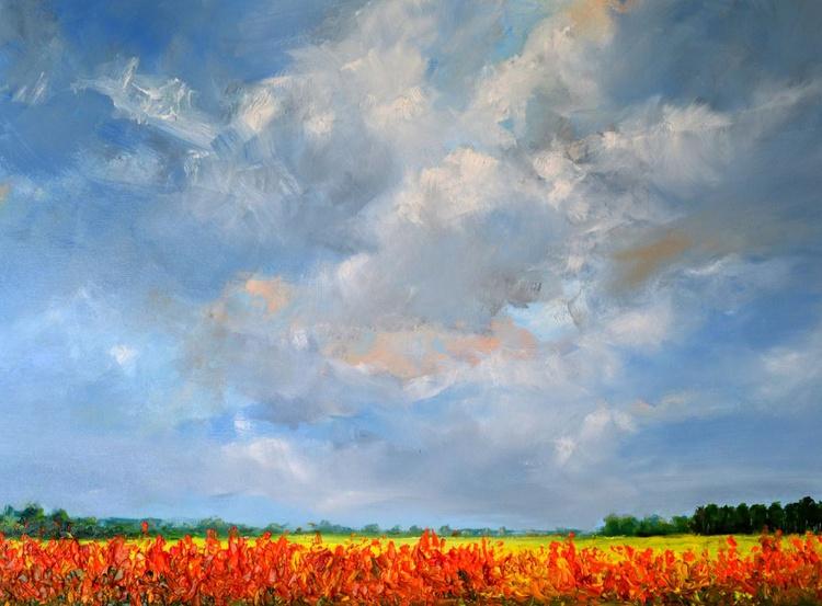 Gladiolus in the polder of Kattendijke oil painting - Image 0