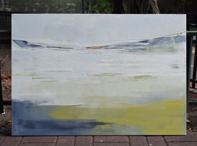 """Abstract painting """"Lake 53"""". 100% Oil painting on cotton canvas. Unique impasto texture. 100/70 cm - Image 0"""