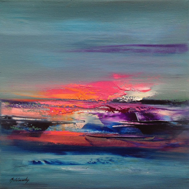 Purple Hues - 40 x 40 cm, abstract landscape oil painting, turquoise, orange, pink - Image 0