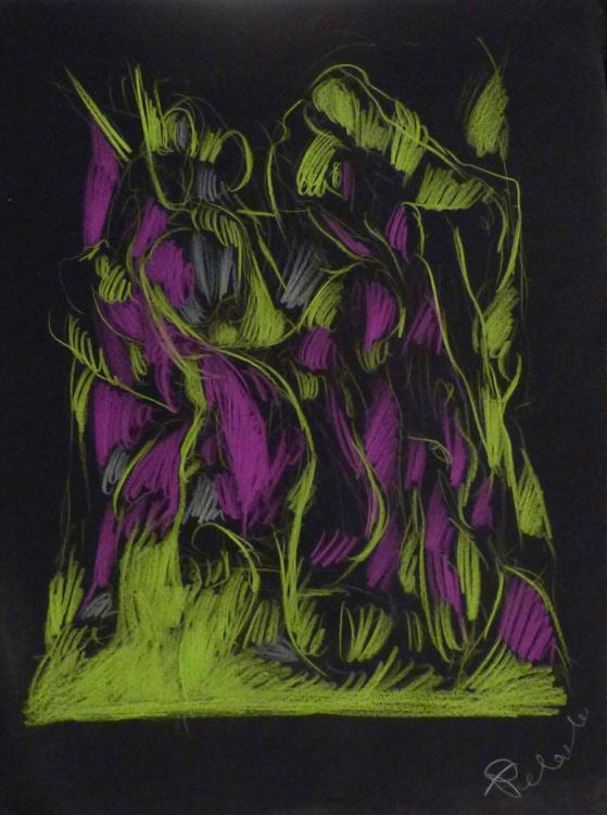 Colour Play 6, pastel on black paper 24x32 cm - Image 0