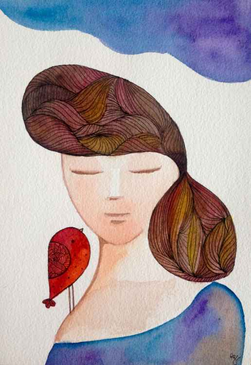 Girl with a red bird -