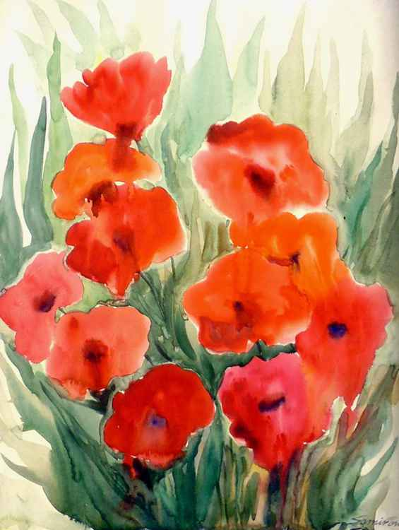Beauty of Red Poppies Flowers - Watercolor Painting