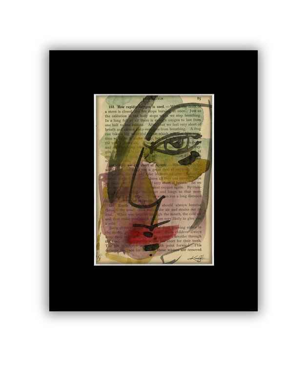"""I See 19"" on Antique Book Page - Abstract Watercolor Painting -"