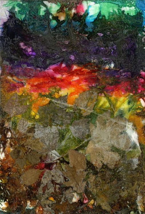 """Large Abstract Painting - Original Contemporary Modern Mixed Media art with Real Leaves """"Color Love"""" - Image 0"""