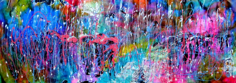 Rain music, large abstract painting 135x45 cm - Image 0
