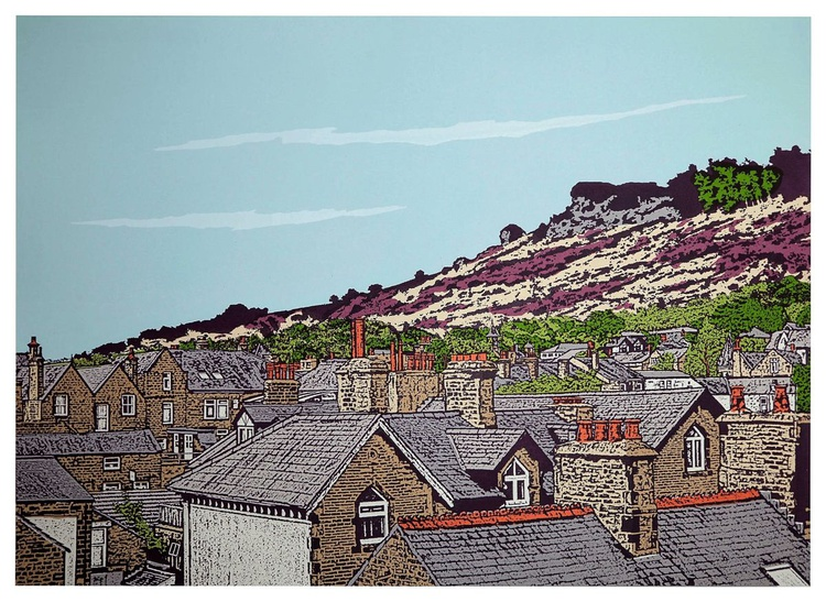 Ilkley rooftops to Cow and Calf - (Plum) - Image 0