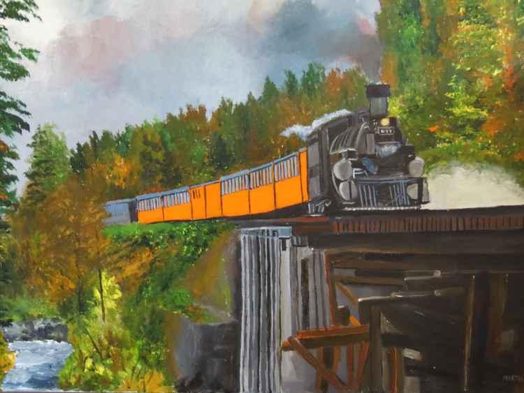train crossing bridge -
