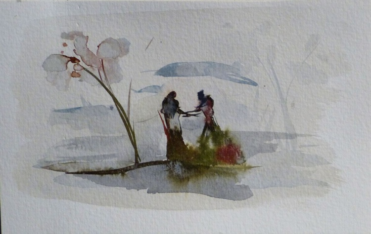 Date on the lake, 19x12 cm - Image 0