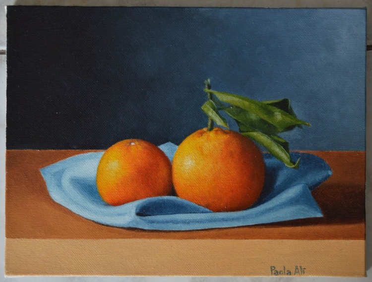 two oranges still-life in classic oil painting style by Paola Ali' - Image 0