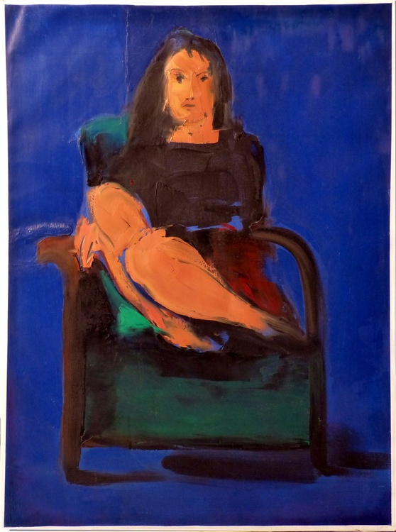Seated Model in the Green Armchair, oil on canvas, 60x81 cm - Image 0