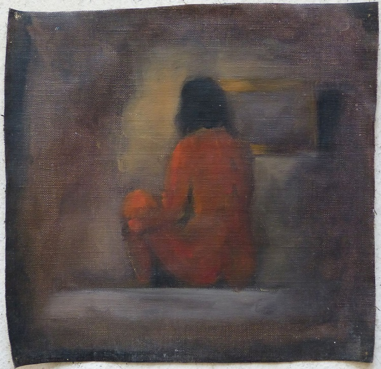 Seated nude, oil on canvas 25x25 cm - Image 0