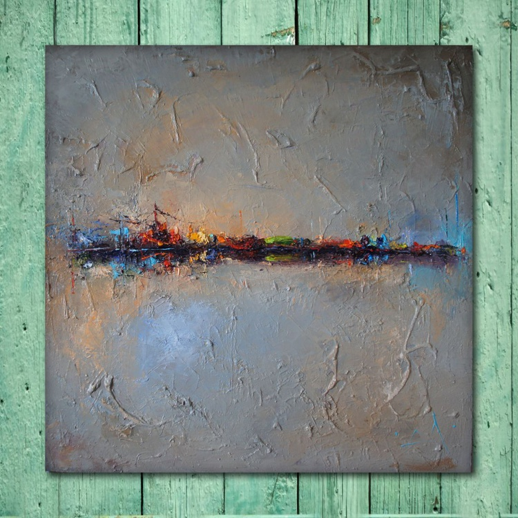 Horizons, Abstract landscape painting, free shipping - Image 0