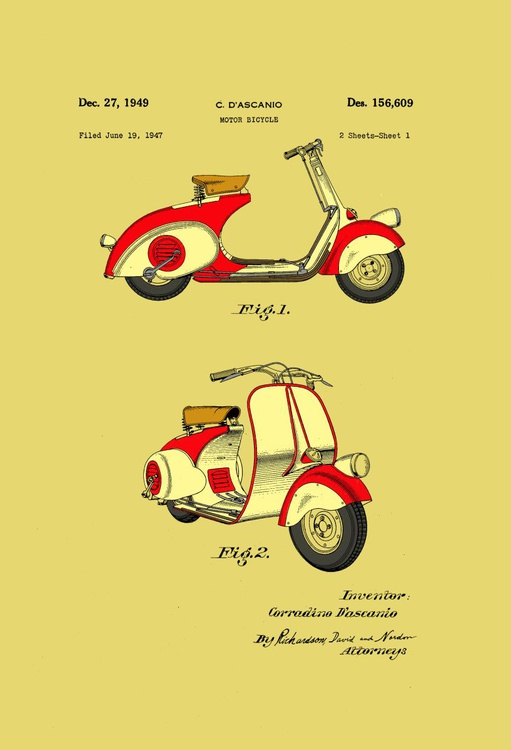Motor Bicycle Patent - Circa 1949 - Red and Cream - Image 0