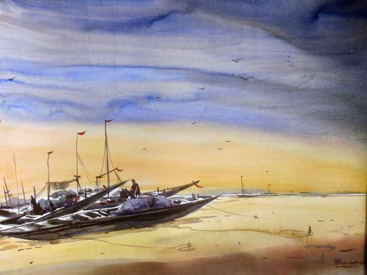 Fishing Boats at Seashore-Watercolor on paper