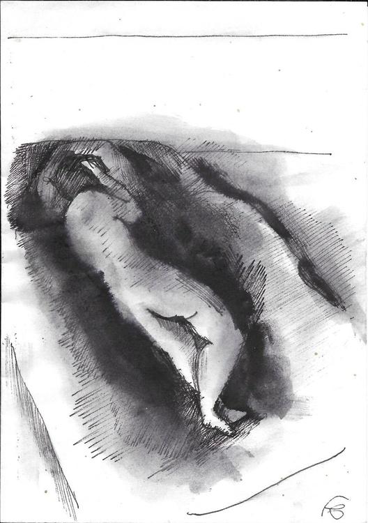 Sleeping nude, drawing on an envelope #3,  17x12 cm - Image 0