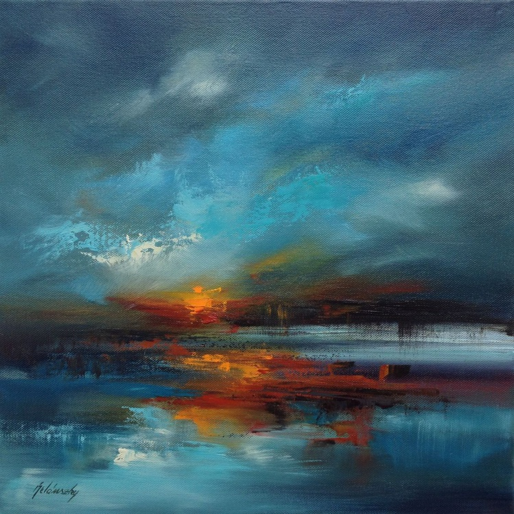 Stormy Lake - 40 x 40 cm, abstract landscape oil painting, blue, red, turquoise, orange - Image 0